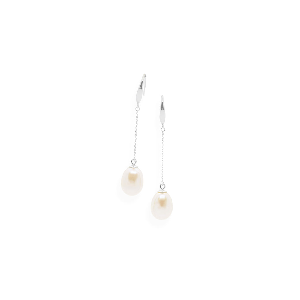 Smooth Drop Earrings | White Pearl and Sterling Silver