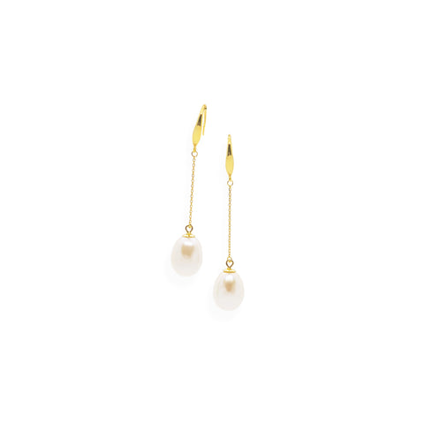 Smooth Drop Earrings | White Pearl, Sterling Silver and Gold Plate