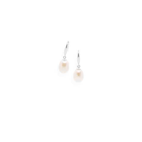 Smooth Earrings | White Pearl and Sterling Silver