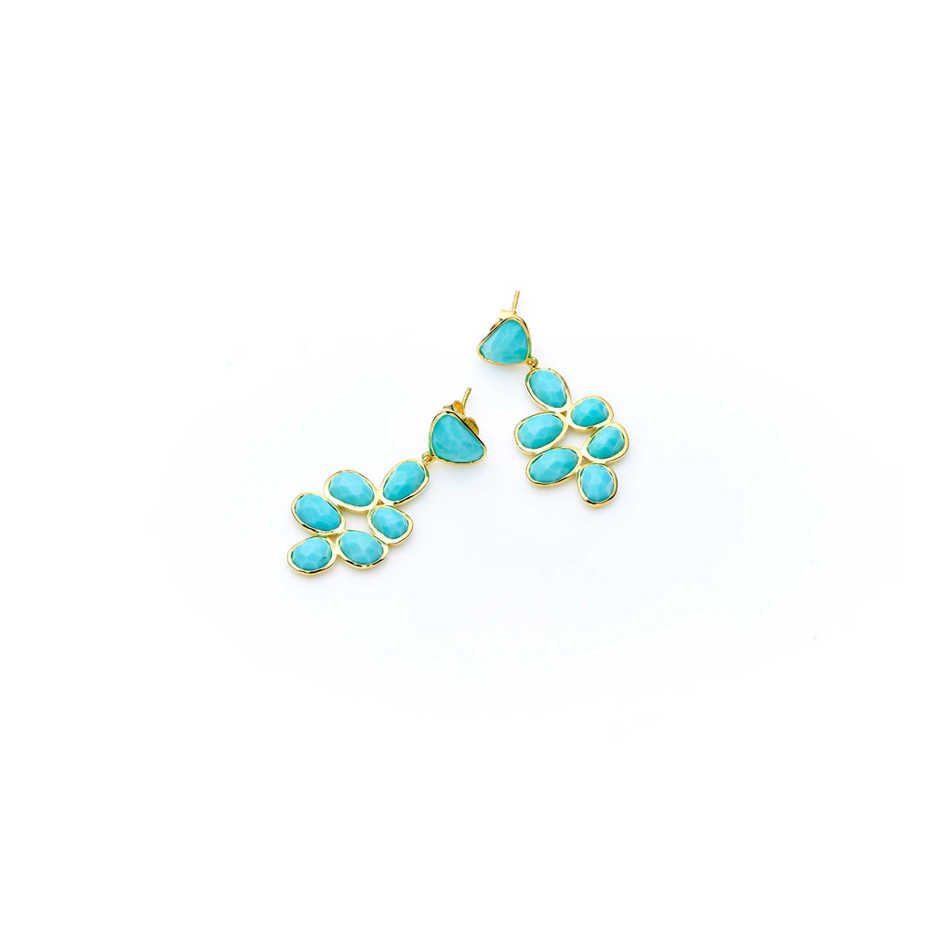 Bek Earring | Turquoise with Sterling Silver and Gold Plate