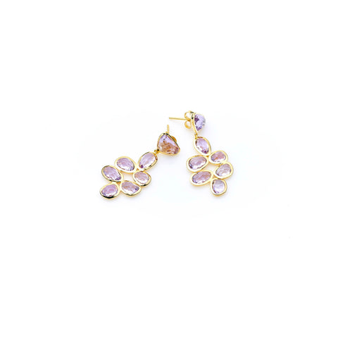 Bek Earring | Amethyst with Sterling Silver and Gold Plate
