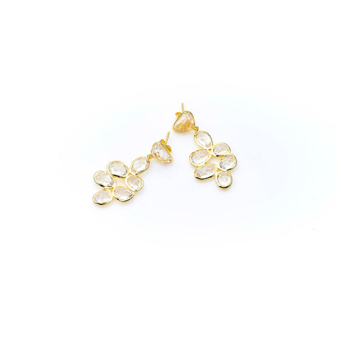 Bek Earring | Crystal with Sterling Silver and Gold Plate
