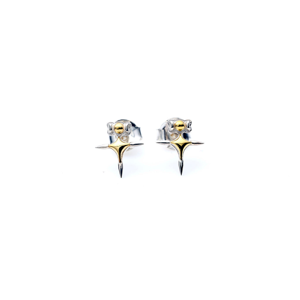 Didia Studs | Gold plate with Sterling Silver Tips