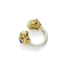 Shahaka Ring in Gold Plated Sterling Silver & Golden Rutile