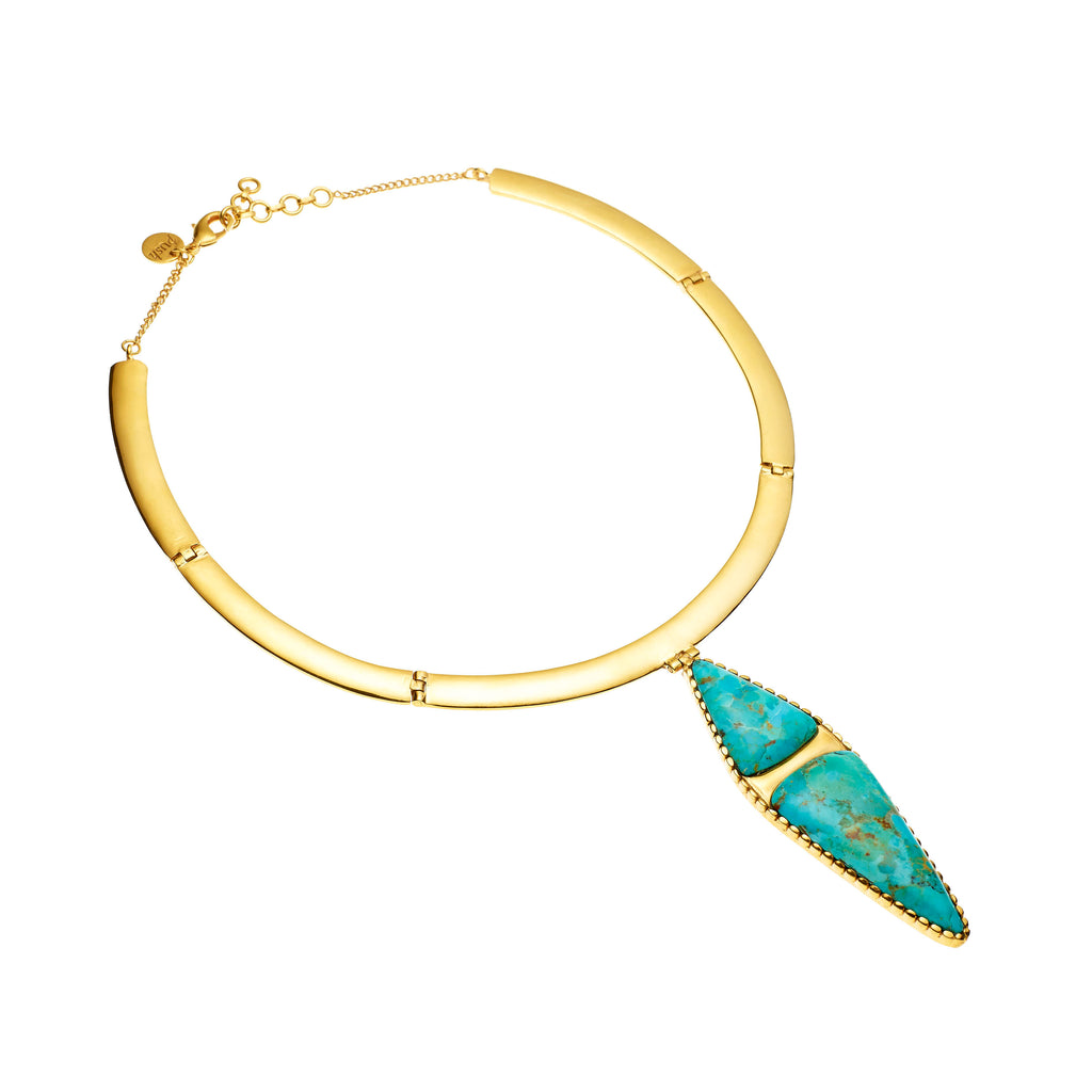 Sha Necklace | Turquoise and Gold plate
