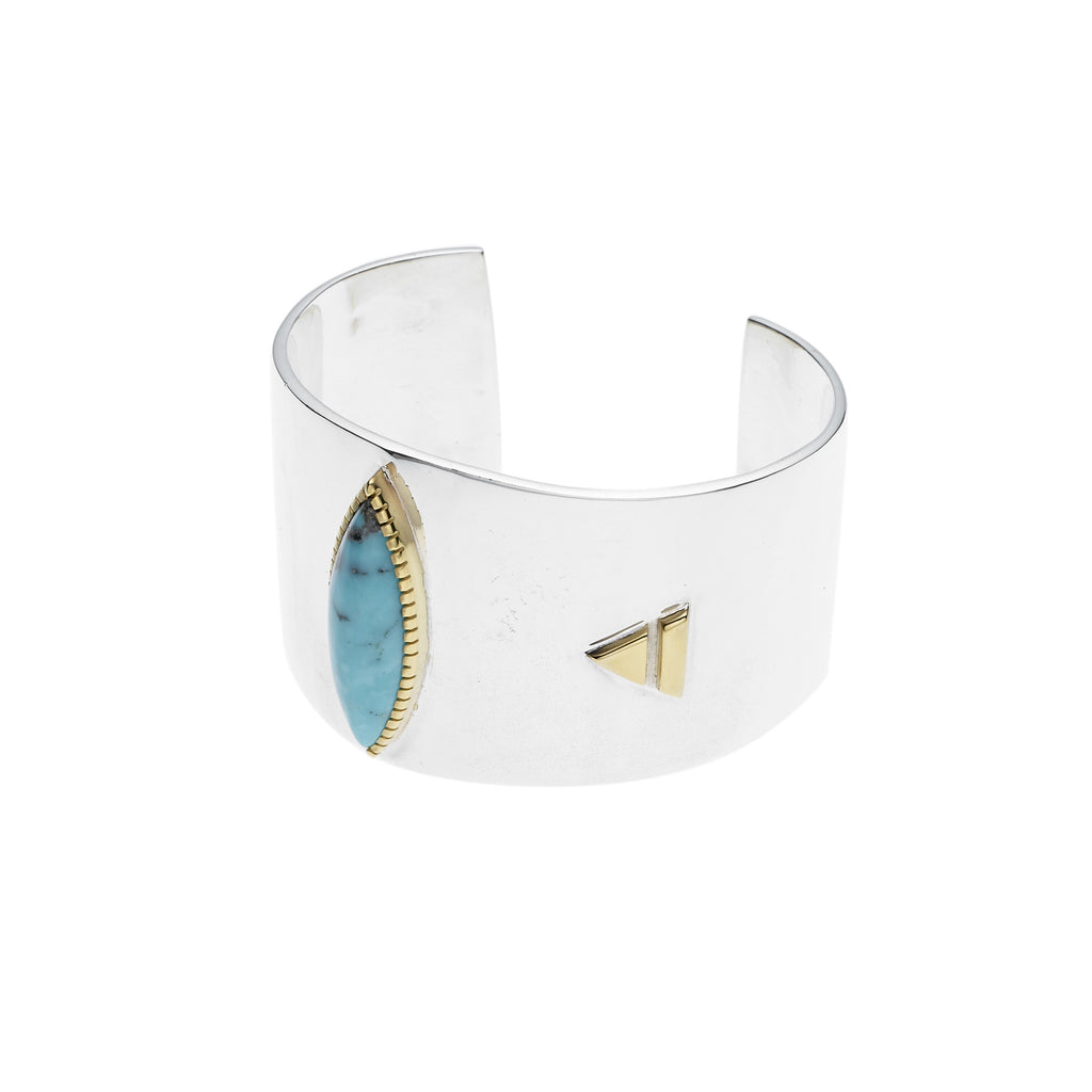 Shield Cuff in Sterling Silver & American Turquoise