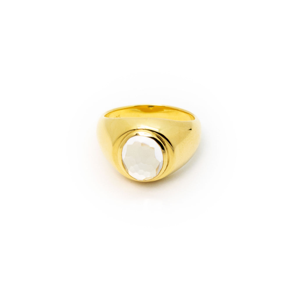 Signet Ring | Gold Plated Sterling Silver with Faceted Crystal