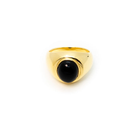 Signet Ring | Gold Plated Sterling Silver with Black Onyx