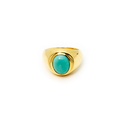 Signet Ring | Gold Plated Sterling Silver with Turquoise
