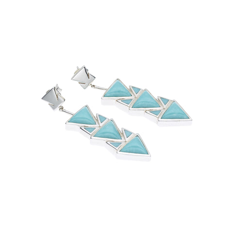 Spearhead Earrings in Sterling Silver & American Turquoise