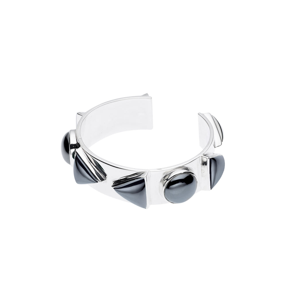 Spearhead Nubian Cuff in Sterling Silver & Hematite