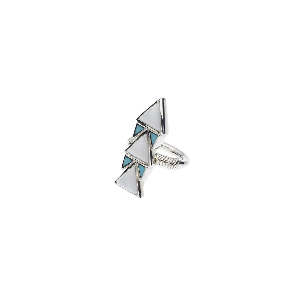 Spearhead Ring in Sterling Silver & American Turquoise/White Agate