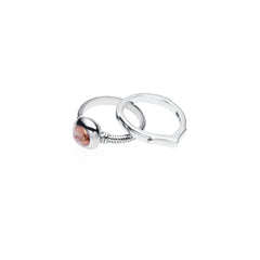 Terra Ring Set | Rhodocrosite and Sterling Silver