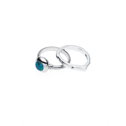 Terra Ring Set | Chrysocolla and Sterling Silver