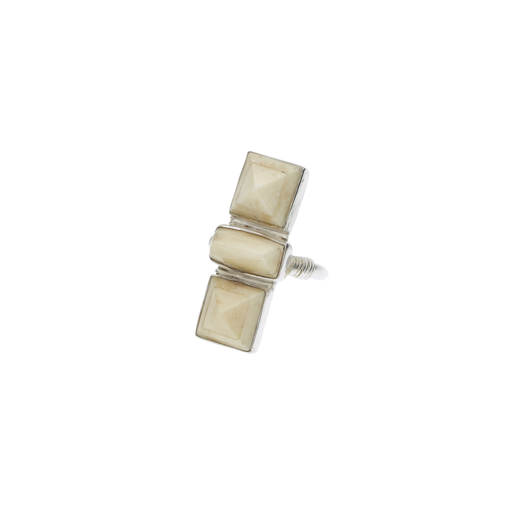 Three Brothers Ring in Sterling Silver & Bone