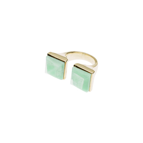 Twin Spirit Ring | Amazonite with Gold Plate