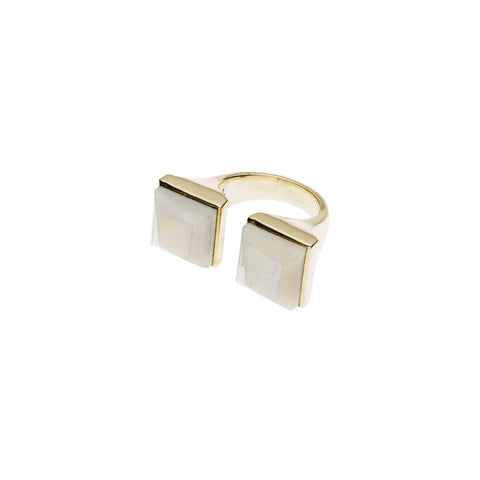 Twin Spirit Ring | Buffalo Bone with Gold Plate