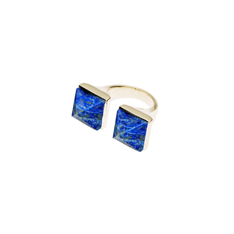 Twin Spirit Ring | Lapis Lazuli with Gold Plate