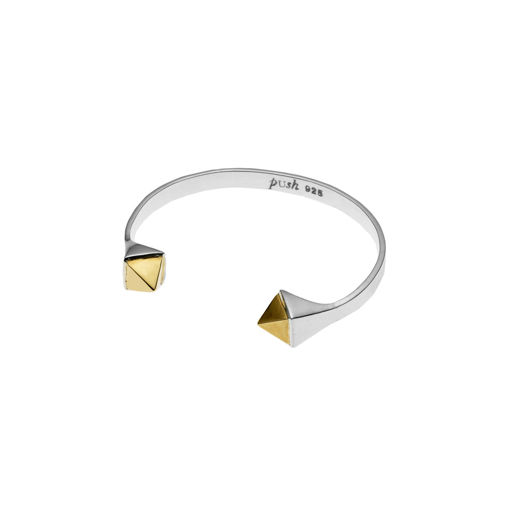 Twin Spirit Cuff in Sterling Silver & Gold Plated Cabochon
