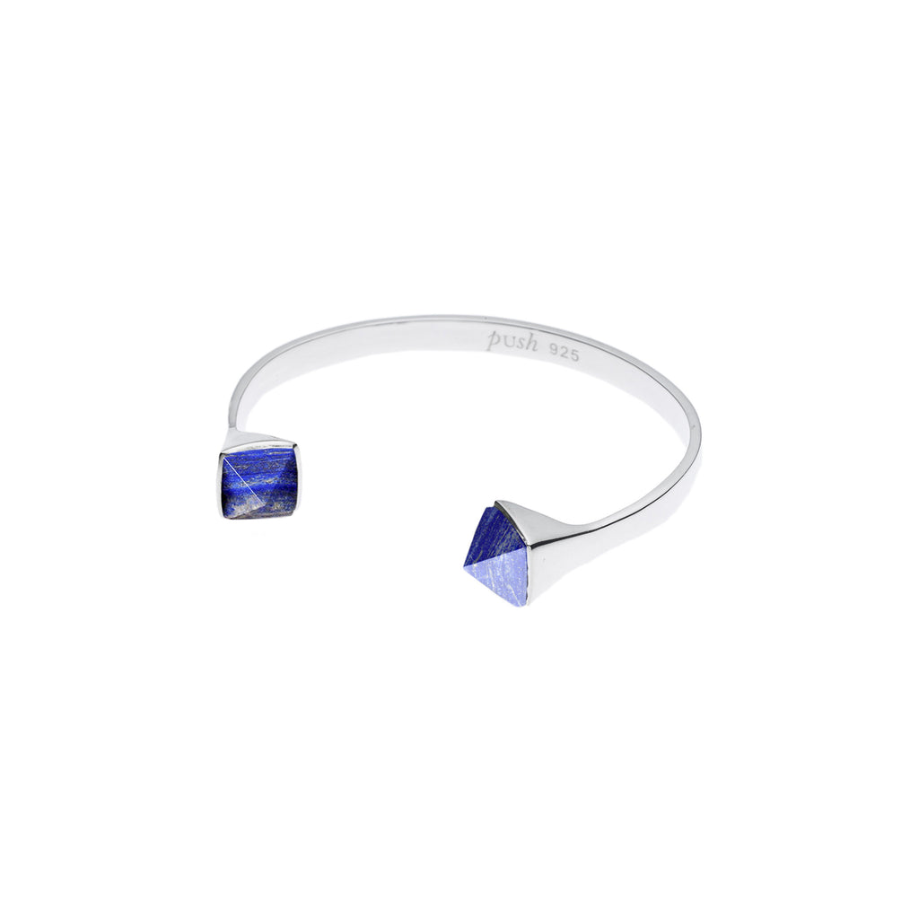 Twin Spirit Cuff in Sterling Silver & Lapis