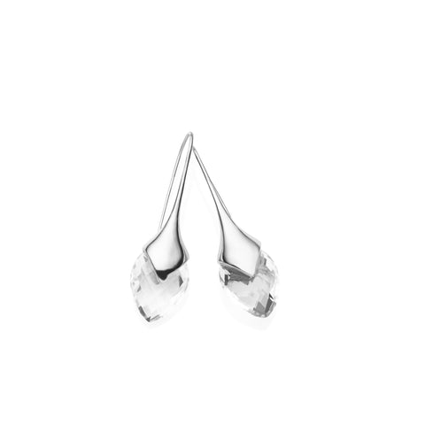 Water Masai Earrings in Sterling Silver & Faceted Crystal