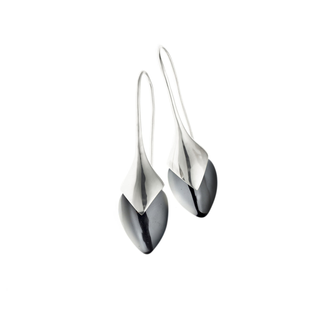 Water Masai Earrings in Sterling Silver & Hematite
