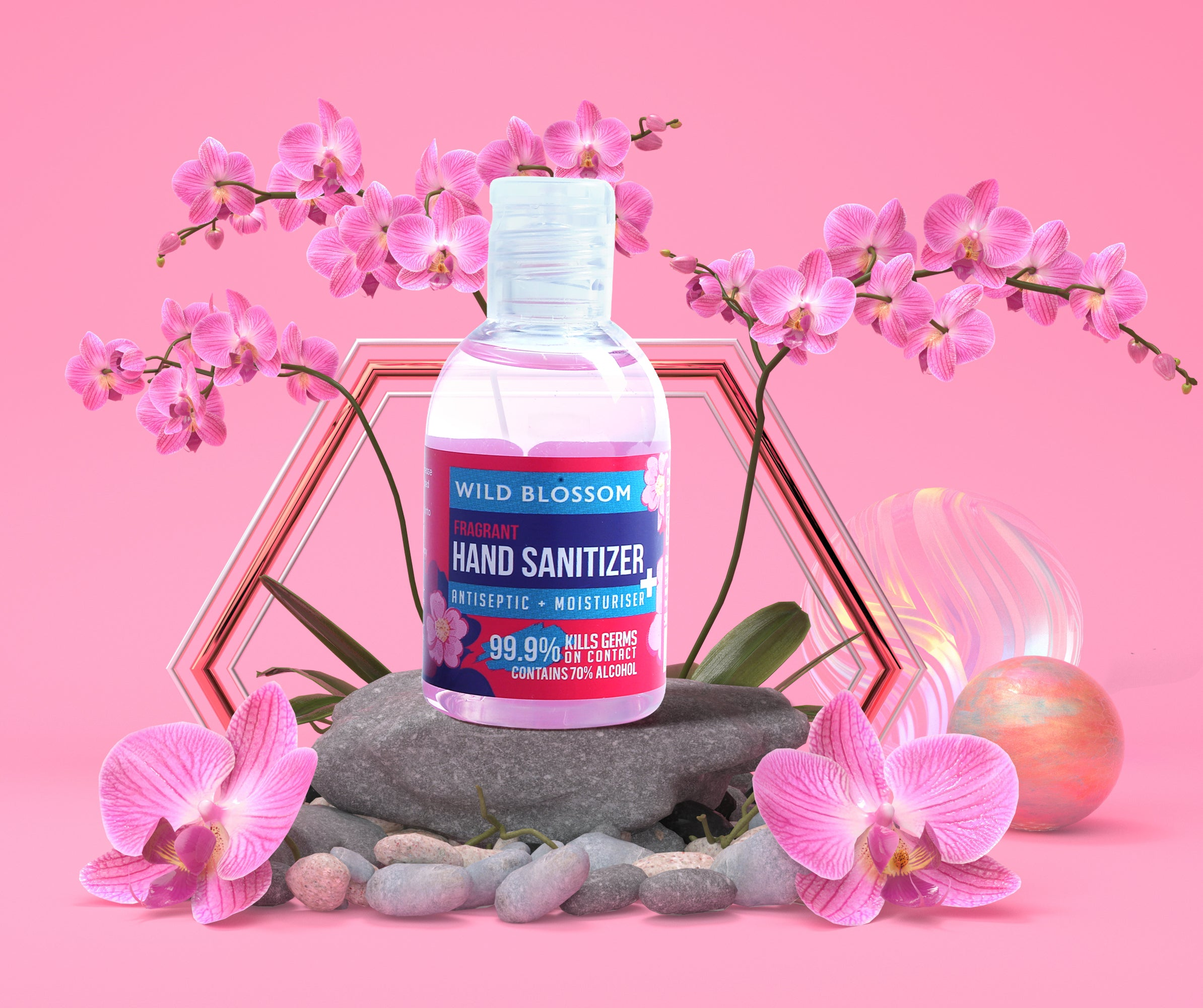 Liquid Gel Hand Sanitizer in Wild Blossom Fragrance kills 99.9% Germs, 70% Ethyl Alcohol, Pack of 10, 50 ML Each