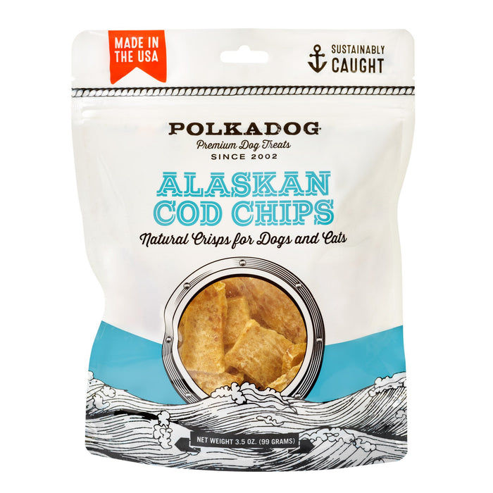 Polka Dog Alaskan Cod Chips Dog Treats 3.5oz