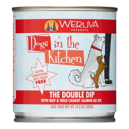 Weruva Dogs in the Kitchen The Double Dip with Beef & Wild Caught Salmon Au Jus Grain-Free Canned Dog Food, 10-oz can