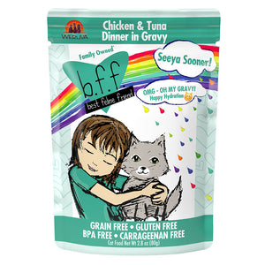 BFF OMG Seeya Sooner! Chicken & Tuna Dinner in Gravy Grain-Free Cat Food Pouches, 2.8-oz