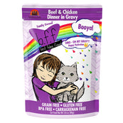 BFF OMG Booya! Beef & Chicken Dinner in Gravy Grain-Free Cat Food Pouches, 2.8-oz