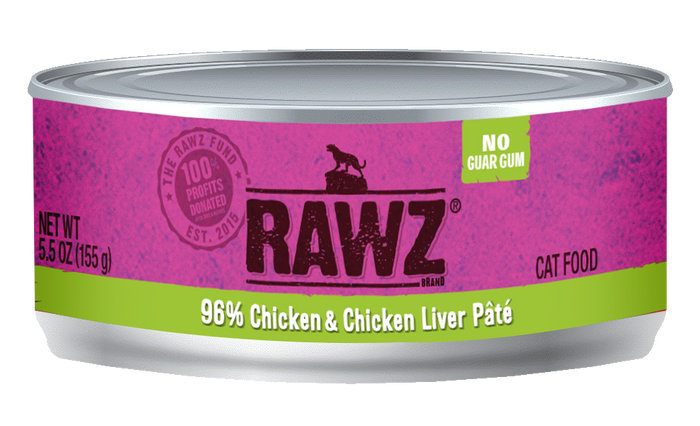 Rawz Chicken & Chicken Liver Pate Cat Food Can 5.5oz