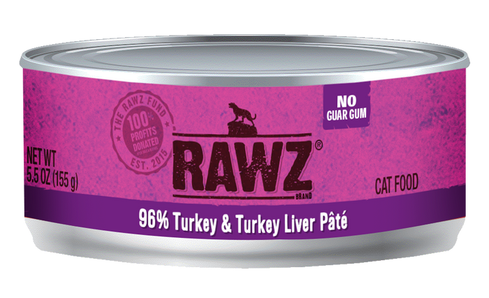 Rawz Turkey & Turkey Liver Pate Cat Food Can 5.5oz