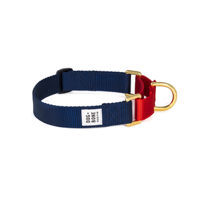 Dog + Bone Martingale Collar Navy & Red