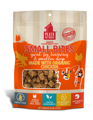 Plato Organic Chicken Small Bites Dog Treats