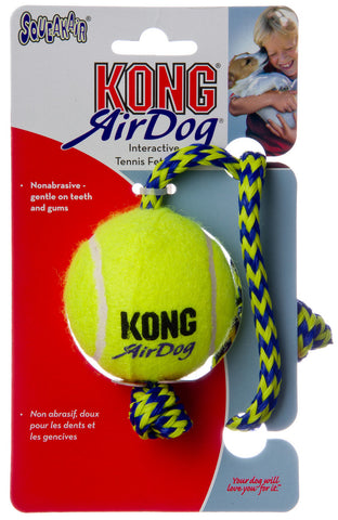 Kong Air Dog Squeaker Tennis Ball with Rope for Dogs