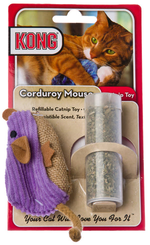 Kong Catnip Refillable Corduroy Mouse Cat Toy with Catnip