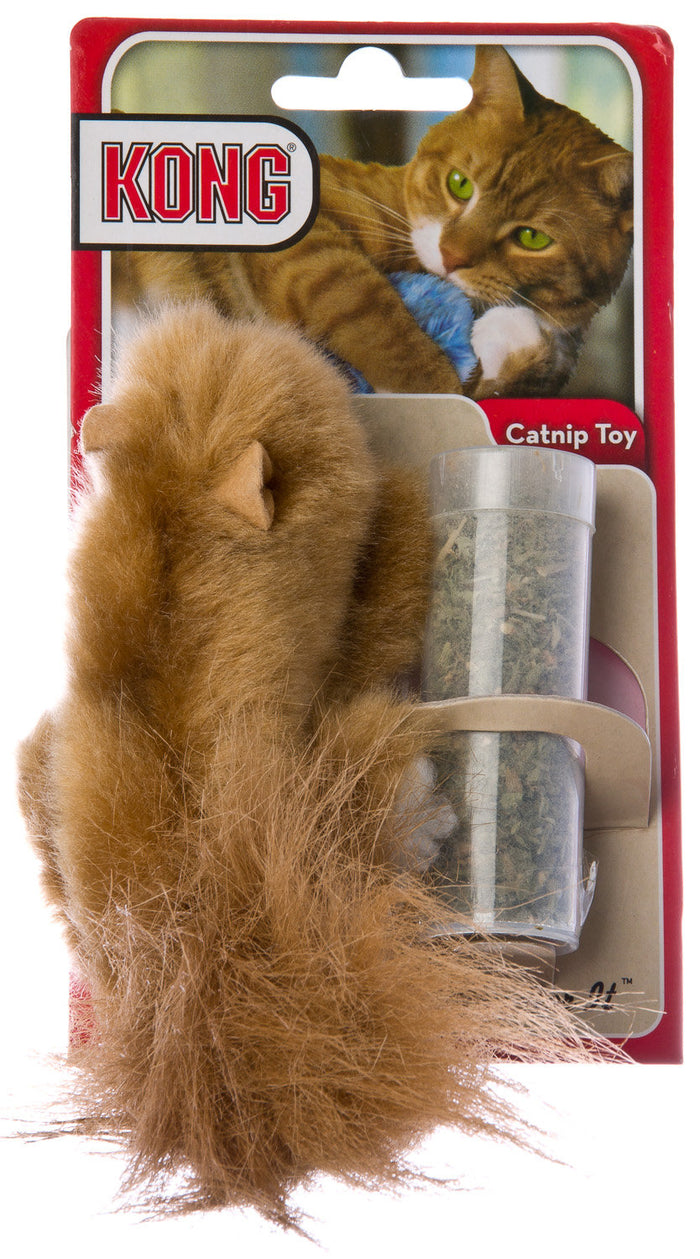 Kong Catnip Refillable Squirrel Cat Toy with Catnip