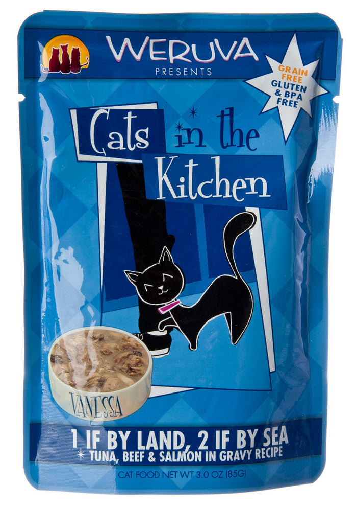 Weruva 1 If By Land, 2 If By Sea Tuna, Beef, and Salmon Cat Food Pouches