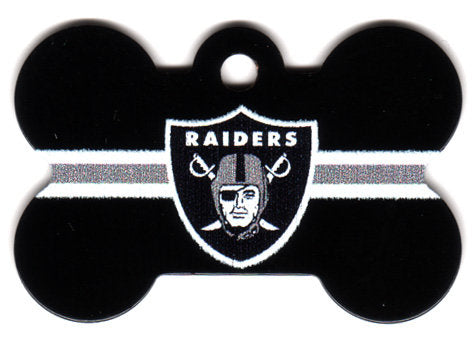 Oakland Raiders Bone Shaped Dog ID Tag with Custom Engraving
