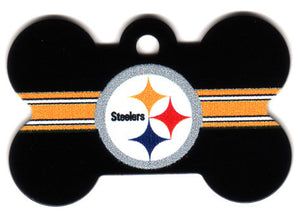Pittsburgh Steelers Bone Shaped Dog ID Tag with Custom Engraving