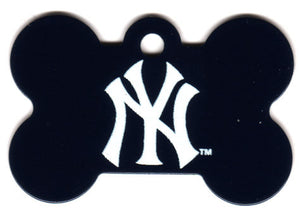 New York Yankees Bone Shaped Dog ID Tag with Custom Engraving