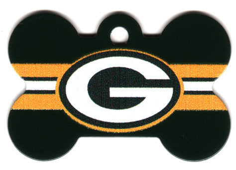 Green Bay Packers Bone Shaped Dog ID Tag with Custom Engraving