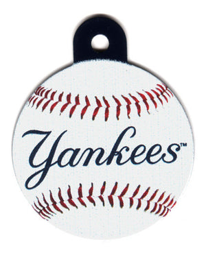 New York Yankees Circle Shaped Dog ID Tag with Custom Engraving