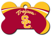 USC Trojans Bone Shaped Dog ID Tag with Custom Engraving