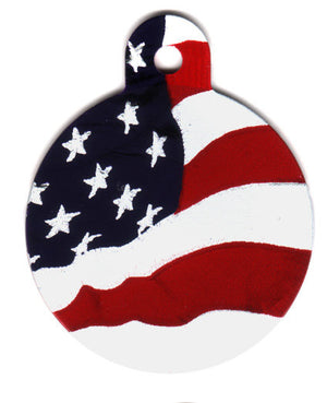 American Flag Circle Shaped Pet ID Tag with Custom Engraving