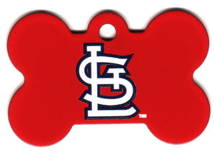 St Louis Cardinals Bone Shaped Dog ID Tag with Custom Engraving
