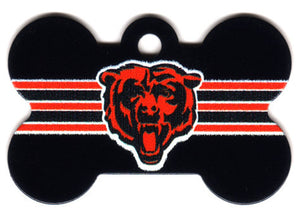 Chicago Bears Bone Shaped Dog ID Tag with Custom Engraving