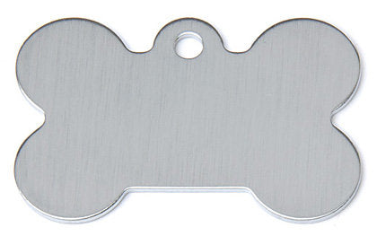 Chrome Bone Shaped Dog ID Tag with Custom Engraving