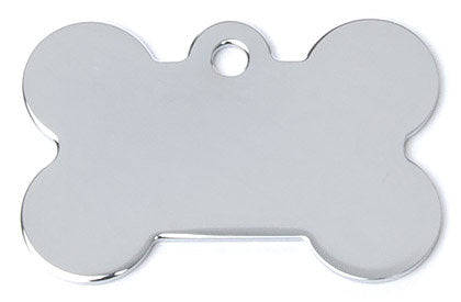 Brushed Chrome Bone Shaped Dog Tag with Custom Engraving